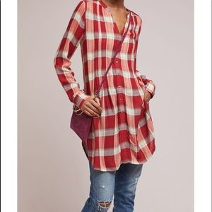 Anthropologie Akemi Kin Lucie plaid tunic